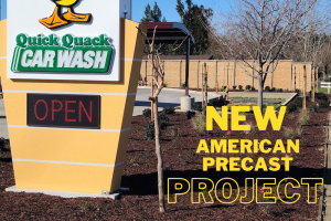 New American Precast project over photo of quick quack car wash with precast fence in the background.