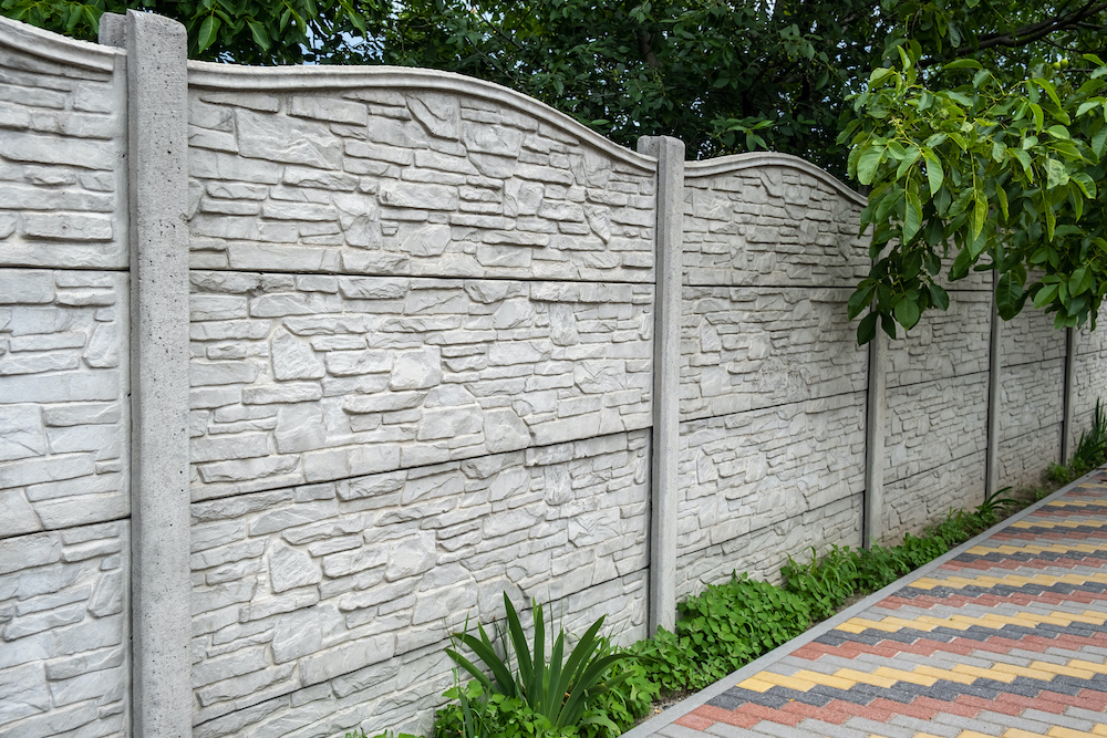 precast concrete being used as a residential wall