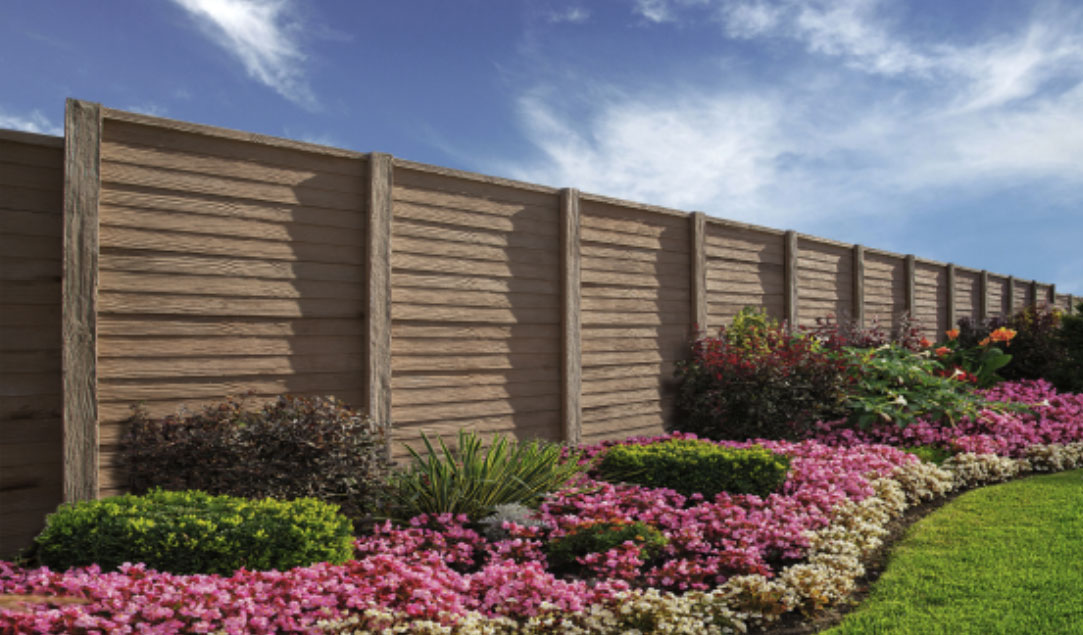 precast fence next to beautiful plants