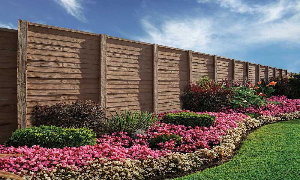 woodcrete as a fence in a residential area